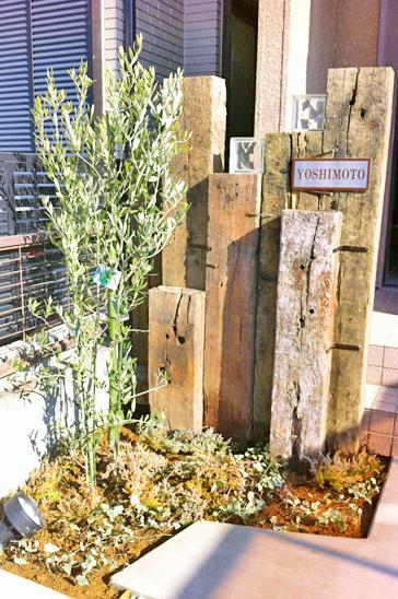 オリーブの木がそよぐ玄関オブジェ